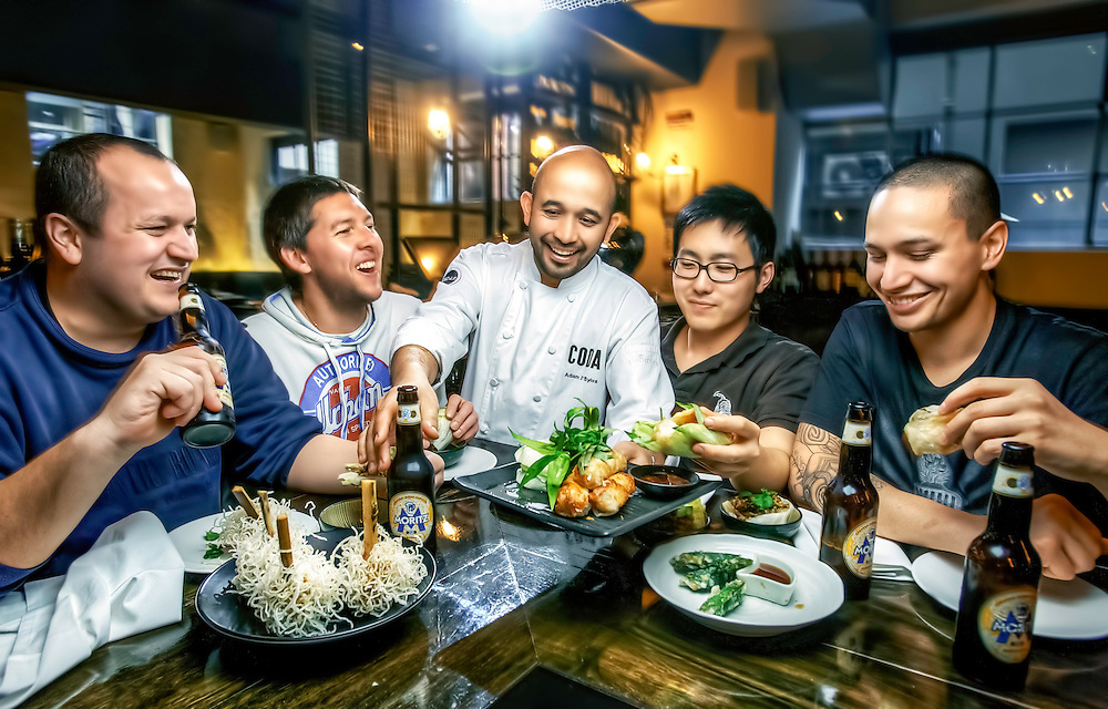 Dude Food at Coda restaurant. Chef Adam D'Sylva (middle) serves sftaff members (L to R) Matthew Lawdorn Joel Crowther, Chef, Henri Budiman, Alan Timu. Pic By Craig Sillitoe CSZ/The Sunday Age.26/8/2011  Pic By Craig Sillitoe CSZ / The Sunday Age This photograph can be used for non commercial uses with attribution. Credit: Craig Sillitoe Photography / http://www.csillitoe.com<br />