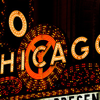 Chicago Theatre sign. Chicago theater marquee sign at night high resolution photo. The Chicago Theatre is a Chicago Landmark and is listed with the National Register of Historic Places.