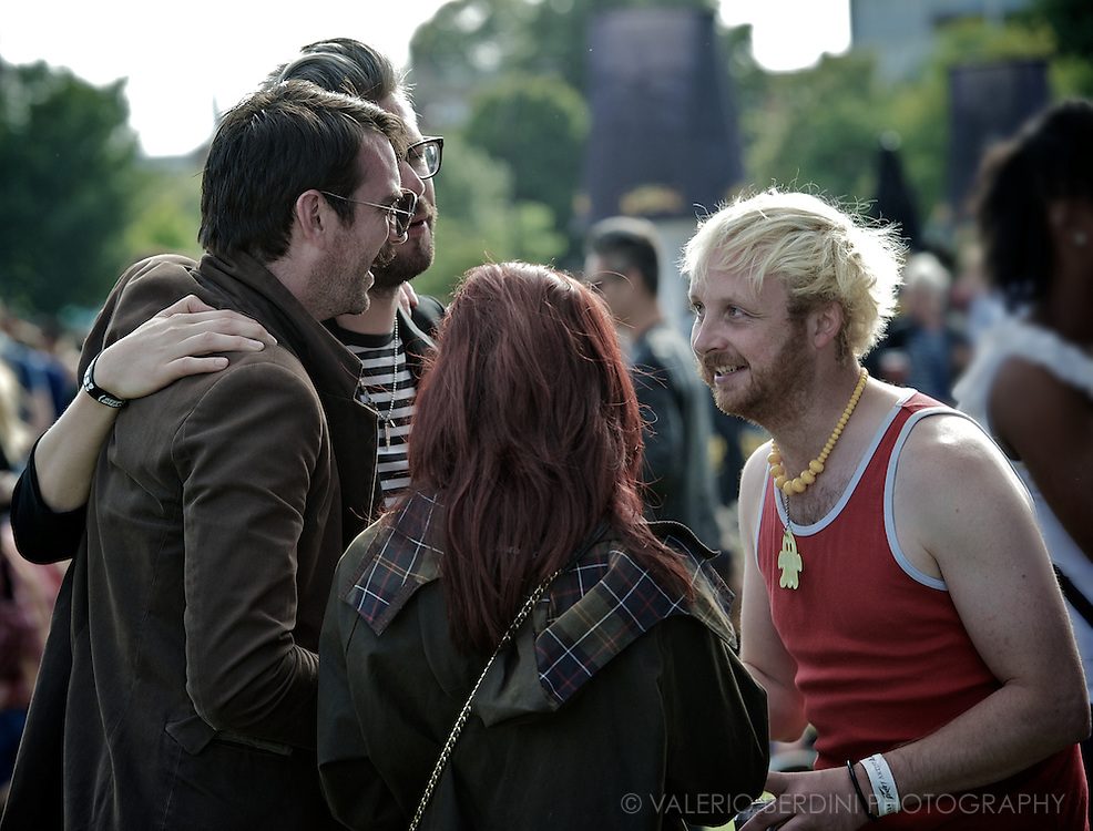 A group of hipsters having a chat.