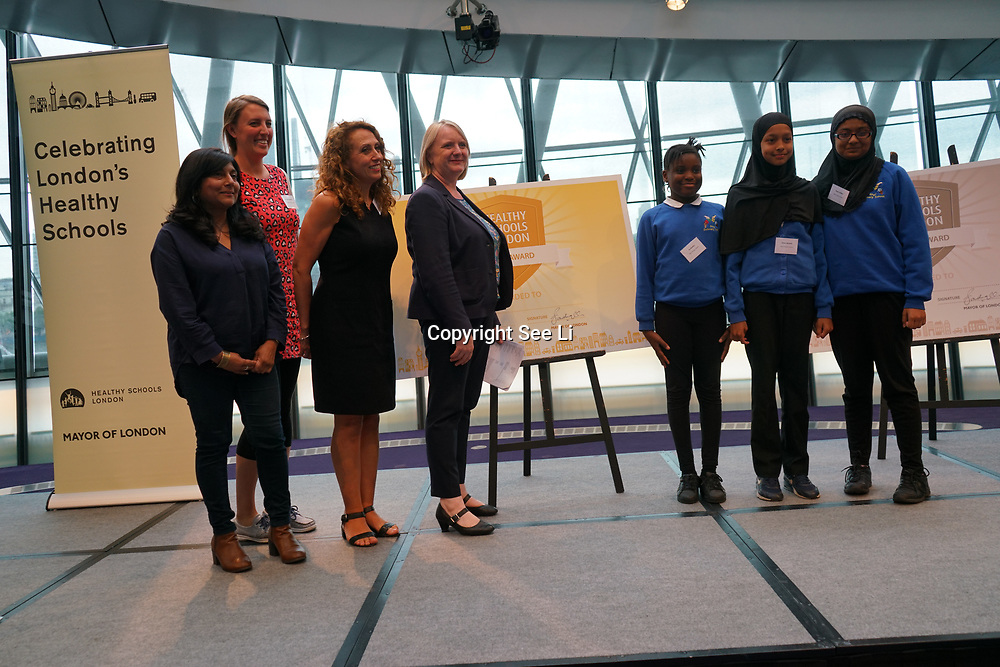 "City Hall, London, Uk, 29th June 2017. Kingsgate Primary School, Carlton, Rhyl Primary School ""Gold Awards"" of the City Hall awards at the Health and education experts celebrate London's healthiest schools."