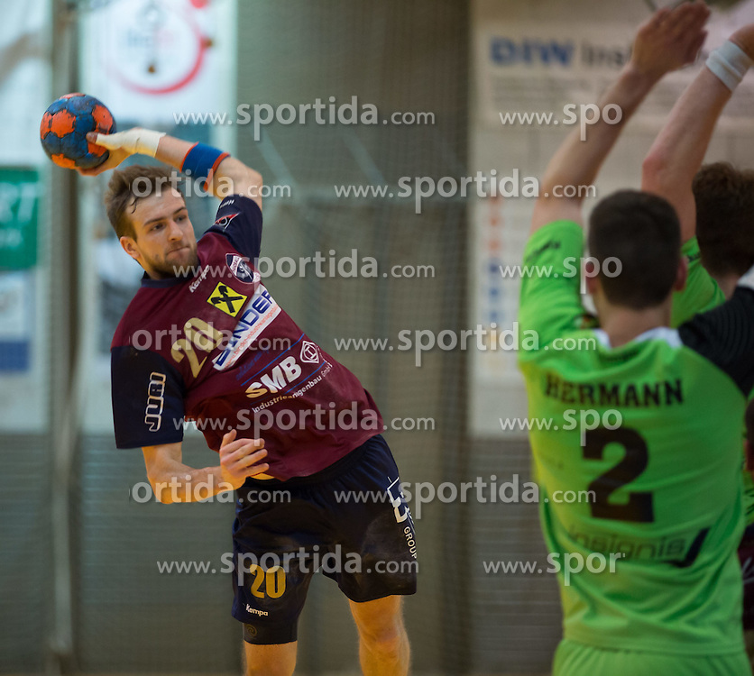 09.12.2014, Sporthalle, Leoben, AUT, OeHB-Cup Achtelfinale, Union JURI Leoben vs SG INSIGNIS Handball West Wien, im Bild Stephan Jandl (Leoben), Alexander Hermann (West Wein) // durning the OeHB-Cup, Round of the last sixteen, between, Union JURI Leoben vs SG INSIGNIS Handball West Wien at the Sport Hall, Leoben, Austria on 2014/12/09, EXPA Pictures © 2014, PhotoCredit: EXPA/ Dominik Angerer