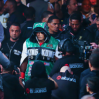 Luis Ortiz is seen during his walk to the ring to face Deontay Wilder during the WBC Heavyweight Championship boxing match at Barclays Center on Saturday, March 3, 2018 in Brooklyn, New York. (Alex Menendez via AP)