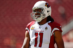 SANTA CLARA, CA - OCTOBER 07: Larry Fitzgerald #11 of the Arizona Cardinals warms up prior to their game against the San Francisco 49ers at Levi's Stadium on October 7, 2018 in Santa Clara, California. (Photo by Jason O. Watson/Getty Images)