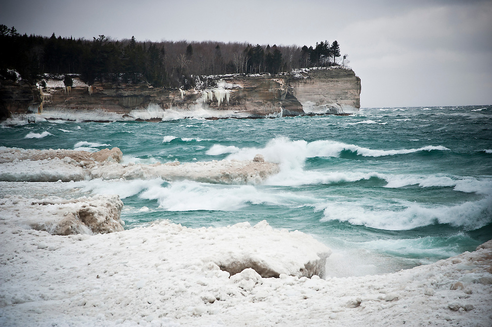 A stormy Lake Superior in winter at Pictured Rocks National Lakeshore near Munising, Michigan.