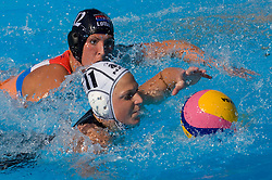 Mieke van der Sloot (NED) and Kristen Hudson (NZL)  at Women Waterpolo match between National Teams of Nederlands and New Zealand at 13th FINA World Championships Rome 2009, on July 25 2009, at Foro Italico, Rome, Italy. (Photo by Vid Ponikvar / Sportida)
