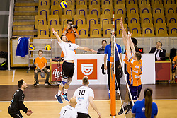Primoz Vidmar of Calcit Volley during 1st Leg volleyball match between ACH Volley and OK Calcit Volley in Final of 1. DOL Slovenian National Championship 2017/18, on April 17, 2018 in Hala Tivoli, Ljubljana, Slovenia. Photo by Urban Urbanc / Sportida