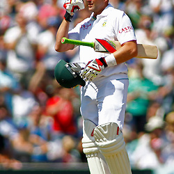 22/07/2012 London, England. South Africa's Jacques Kallis celebrates a century by pointing to his eye in a salute to his friend and ex colleague Mark Boucher who's tour was cut short with an eye injury during the Investec cricket international test match between England and South Africa, played at the Kia Oval cricket ground: Mandatory credit: Mitchell Gunn