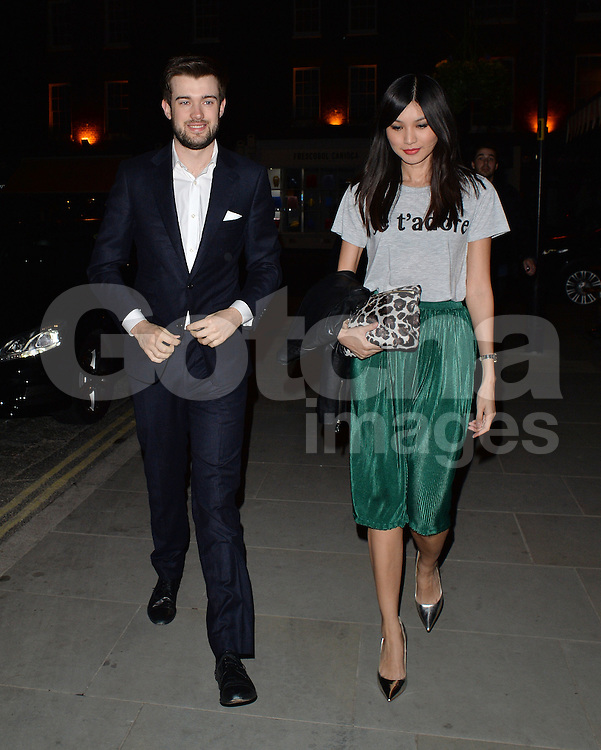 Comedian Jack Whitehall and girlfriend Gemma Chan at the Chiltern Firehouse restaurant in London, UK. 26/04/2014<br />BYLINE MUST READ : GOTCHAIMAGES.COM<br /><br />Copyright by &copy; Gotcha Images Ltd. All rights reserved.<br />Usage of this image is conditional upon the acceptance <br />of Gotcha Images Ltd, terms and conditions available at<br />www.gotchaimages.com
