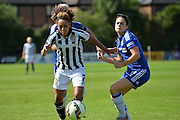 Notts County Ladies forward Jess Clarke controls the ball during the FA Women's Super League match between Chelsea Ladies FC and Notts County Ladies FC at Staines Town FC, Staines, United Kingdom on 6 September 2015. Photo by Mark Davies.
