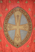 Banner of Saint Denis inscribed 'Vive le Christ qui aime les Francs', from the Collegiale Notre-Dame de Poissy, a catholic parish church founded c. 1016 by Robert the Pious and rebuilt 1130-60 in late Romanesque and early Gothic styles, in Poissy, Yvelines, France. The Collegiate Church of Our Lady of Poissy was listed as a Historic Monument in 1840. Picture by Manuel Cohen