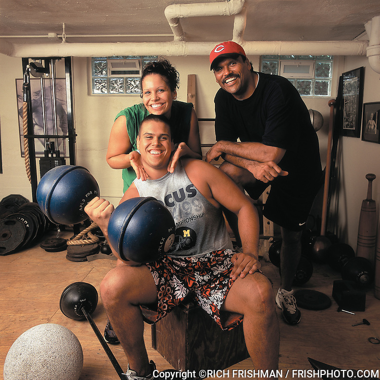 "Portrait of Michelle Munoz, Michael Munoz and former Cincinnati Bengals and Hall of Fame player Anthony Munoz after workout at ""The Dungeon;"". Cincinnati, OH 5/5/2000..Credit: Rich Frishman"