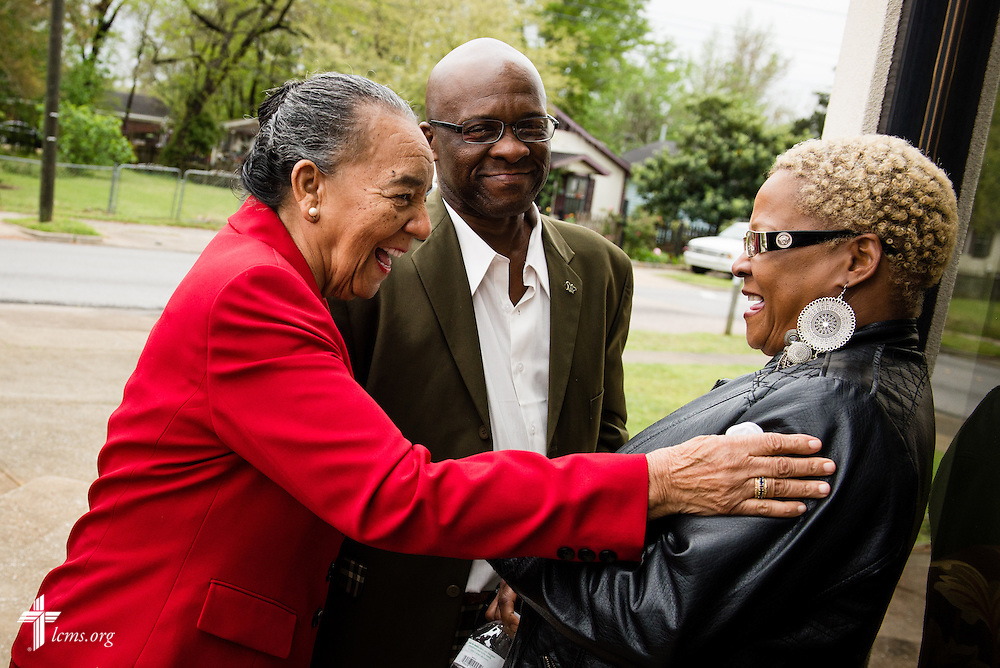Hazel Robinson greets Charles Pettway and Rebecca Pettway following worship at Trinity Lutheran Church Sunday, April 6, 2014, in Mobile, Ala. LCMS Communications/Erik M. Lunsford
