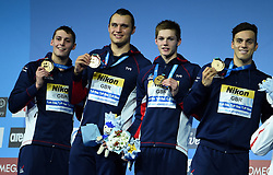 The British team who won the 4x200 free gold<br /> Stephen Milne, Nicholas Grainger,Duncan Scott and James Guy - 17th FINA Aquatics World Championships held in Budapest, Hungary on July 28, 2017. Photo by Giuliano Bevilacqua/ABACAPRESS.COM