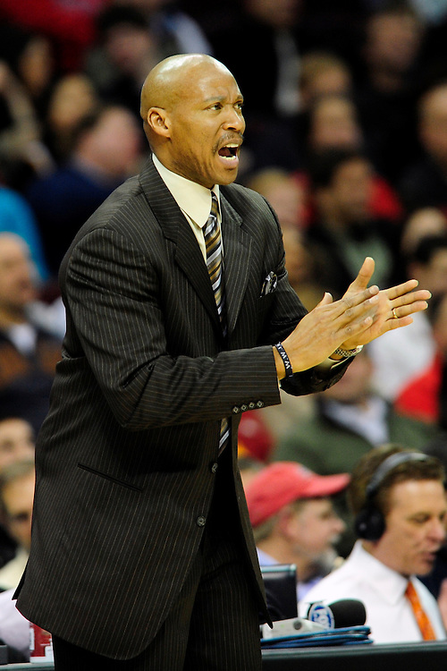Feb. 5, 2011; Cleveland, OH, USA; Cleveland Cavaliers head coach Byron Scott yells to his players during the third quarter against the Portland Trail Blazers at Quicken Loans Arena. Mandatory Credit: Jason Miller-US PRESSWIRE