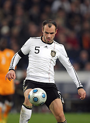 HEIKO WESTERMANN.GERMANY.GERMANY V IVORY COAST.VELTINS ARENA, GELSENKIRCHEN, GERMANY.18 November 2009.GAB4660..  .WARNING! This Photograph May Only Be Used For Newspaper And/Or Magazine Editorial Purposes..May Not Be Used For, Internet/Online Usage Nor For Publications Involving 1 player, 1 Club Or 1 Competition,.Without Written Authorisation From Football DataCo Ltd..For Any Queries, Please Contact Football DataCo Ltd on +44 (0) 207 864 9121