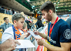 Alen Hodzic of Sixt Primorska with fans after winning during basketball match between KK Sixt Primorska and KK Hopsi Polzela in final of Spar Cup 2018/19, on February 17, 2019 in Arena Bonifika, Koper / Capodistria, Slovenia. KK Sixt Primorska became Slovenian Cup Champion 2019. Photo by Vid Ponikvar / Sportida