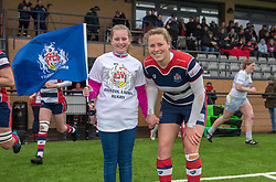 Amber Reed of Bristol Ladies poses with a mascot - Mandatory by-line: Paul Knight/JMP - 30/03/2018 - RUGBY - Shaftsbury Park - Bristol, England - Bristol Ladies v Saracens Women - Tyrrells Premier 15s