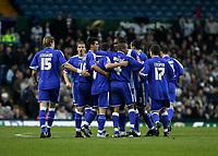 Photo: Andrew Unwin.<br />Leeds United v Cardiff City. Coca Cola Championship.<br />10/12/2005.<br />Cardiff celebrate Jason Koumas (#8) scoring their first goal.
