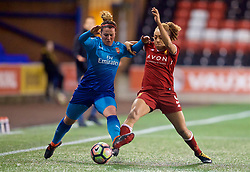 WIDNES, ENGLAND - Wednesday, February 7, 2018: Liverpool's Jessica Clarke and Arsenal Ladies' Emma Mitchell during the FA Women's Super League 1 match between Liverpool Ladies FC and Arsenal Ladies FC at the Halton Stadium. (Pic by David Rawcliffe/Propaganda)