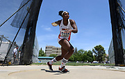 May 24, 2019; Sacramento, CA, USA; Diamond Thomas (1605) of UT-Rio Grande Valley places 20th in the women's discus at 168-3 (51.29m) during the NCAA West Preliminary at Hornet Stadium.