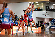 Tactix player Kimiora Poi and Steel centre Shannon Francois compete during the Southern Steel v Mainland Tactix, ANZ Netball Premiership, Edgar Centre, Dunedin, New Zealand. June 24, 2018. Copyright Image: Derek Morrison / www.photosport.nz