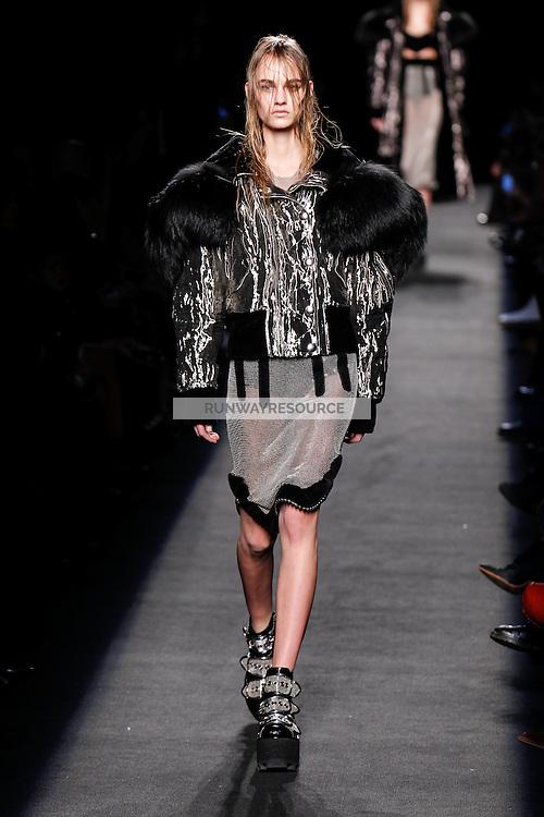Maartje Verhoef (WOMEN) walks the runway wearing Alexander Wang Fall 2015 during Mercedes-Benz Fashion Week in New York on February 14, 2015