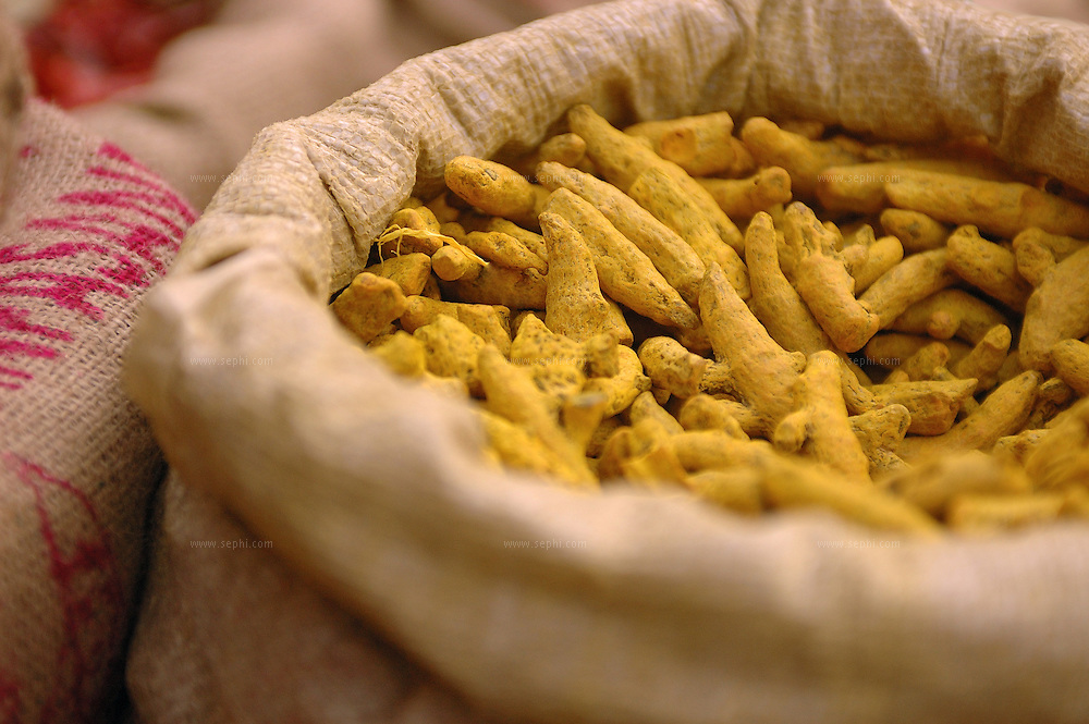 Turmeric (Haldi) for sale at a delhi market