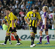 Wellington Phoenix's Daniel Cortes walks off the ground after losing to the Perth Glory during the A-Leagues minor semi final held at nib Stadium, Perth, Australia on Saturday 7 April 2012. Photo Theron Kirkman / Photosport.co.nz