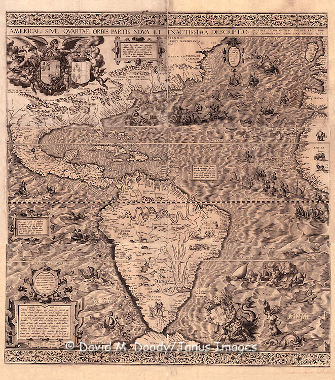 """Americae sive qvartae orbis partis nova et exactissima descriptio / avtore Diego Gvtiero Philippi Regis Hisp. etc. Cosmographo ; Hiero. Cock excvde 1562 ; Hieronymus Cock excude cum gratia et priuilegio 1562. ..Gutiérrez, Diego, fl. 1554-1569...OTHER TITLES.Americae sive quartae orbis partis nova et exactissima descriptio ..CREATED/PUBLISHED.[Antwerp : s.n.], 1562...NOTES.Covers North and South America with the adjacent seas. .Relief shown pictorially. .From the Rosenwald Collection, Library of Congress, no. 1303. .Originally printed on 6 sheets. .Described in Quarterly Journal of the Library of Congress, v. 6, no. 3 (May 1949), p. 18-20. .Includes texts in cartouche, statements of dedication, coats-of-arms, ill. of allegorical figure """"Victoria"""", and ill. of sailing ships at sea and imaginary marine creatures. .LC sheet trimmed. ..."""