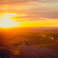 road leads to the sunset on the montana prairie