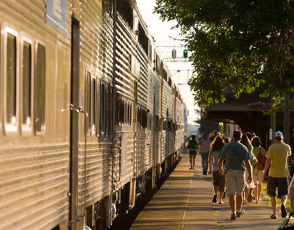 Commuters exit their weekend train at the Stone Ave depot in LaGrange, IL.