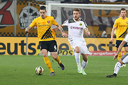 03.03.2015, Stadion Dresden, Dresden, GER, DFB Pokal, SG Dynamo Dresden vs Borussia Dortmund, Achtelfinale, im Bild Dennis Erdmann (#4, Dynamo Dresden), Ciro Immobile (#9, Borussia Dortmund) // SPO during German DFB Pokal last sixteen match between SG Dynamo Dresden and Borussia Dortmund at the Stadion Dresden in Dresden, Germany on 2015/03/03. EXPA Pictures &copy; 2015, PhotoCredit: EXPA/ Eibner-Pressefoto/ Hundt<br /> <br /> *****ATTENTION - OUT of GER*****