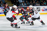 KELOWNA, CANADA - SEPTEMBER 28: Jared Bethune #21 of Prince George Cougars back checks Cal Foote #25 of Kelowna Rockets on September 28, 2016 at Prospera Place in Kelowna, British Columbia, Canada.  (Photo by Marissa Baecker/Shoot the Breeze)  *** Local Caption *** Jared Bethune; Cal Foote;