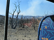 A forest is burnt black at Torres del Paine National Park entrance, in Chile, Patagonia, South America. Due to a grass fire burning and closing Torres del Paine National Park entrance in February 2005, we shortened our ?W Route? Trek from 8 to 5 days. The grass fire was caused by a camper lighting their portable stove on a windy day. Backpacking with a tent, stove, food, pad, and sleeping bag is cheaper than hut walking, but frequent 50mph winds can make tent camping uncomfortable in Patagonia.
