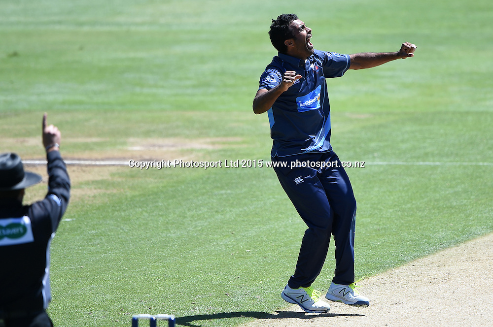 Auckland's Tarun Nethula appeals successfully for a LBW decision to dismiss Flynn during the Ford Trophy one day cricket match between Auckland Aces and Northern Knights at the Eden Park Outer Oval, Auckland, New Zealand. Sunday 18 January 2015. Photo: Andrew Cornaga/www.Photosport.co.nz
