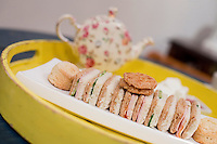 5 November, 2008. New York, NY. An assortment of tea sandwiches is on a tray here at the Podunk, a self-styled &quot;American tearoom&quot; in the East Village.The owner, Elspeth Treadwell, left a career in publishing to open Podunk six years ago, in 2002. <br /> <br /> &copy;2008 Gianni Cipriano for The New York Times<br /> cell. +1 646 465 2168 (USA)<br /> cell. +1 328 567 7923 (Italy)<br /> gianni@giannicipriano.com<br /> www.giannicipriano.com