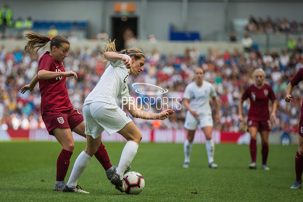 Fran Kirby (England) and Rebekah Scott (New Zealand) during the FIFA Women's World Cup UEFA warm up match between England Women and New Zealand Women at the American Express Community Stadium, Brighton and Hove, England on 1 June 2019.