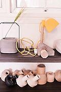 Const Lamp  (top) and Merging Top vases by THINKK Studio