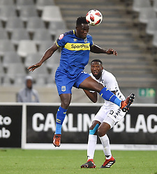 Cape Town-181002- Cape Town City's Siphelele Mthembu challenged by Buhle Mkhwanazi  of Bidvest Wits in a PSL clash at Cape Town Stadium.Cape town City came to this game with high confidence after winning the MTN 8 cup over the weekend,but lost to Wits by 2-0 .Wits are currently on top of the league after this victory.Photographs:Phando Jikelo/African News Agency/ANA