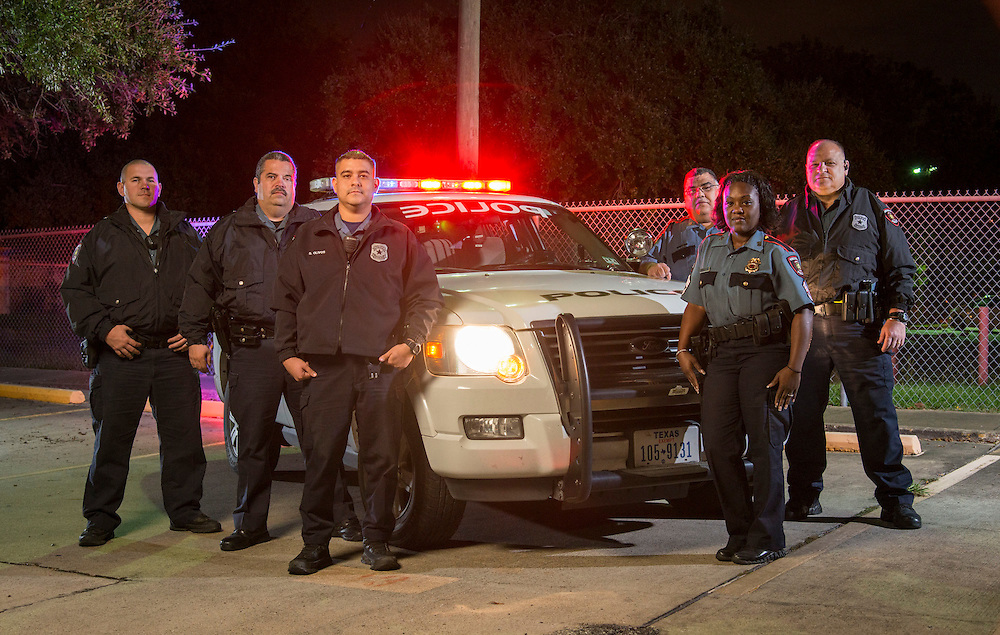Members of the Houston ISD Police Department Members of HISD's Third Watch (L-R) Officer James Bibb, Officer David Sepulveda, Officer Steve Olivos, Officer Freddy Vasquez, Sgt. Denise Royal and Officer Quentin Wilson prepare to begin their overnight shift, November 6, 2013.
