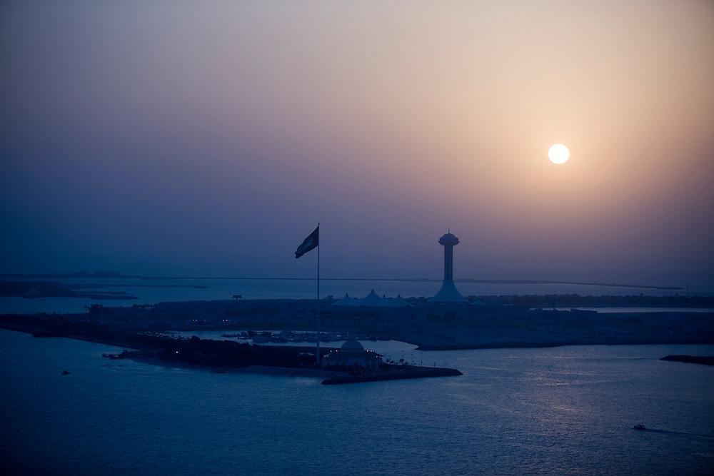 sunset over man made islands  abu dhabi Marina amd Marina Mall