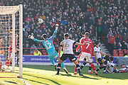 Matty Cash shoots wide during the EFL Sky Bet Championship match between Nottingham Forest and Luton Town at the City Ground, Nottingham, England on 19 January 2020.