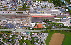 THEMENBILD - ÖBB Bahnhofsgelände in Lienz, Osttirol, mit stehenden Zugsgarnituren. Aufgenommen am Montag, 26. September 2019 in Lienz // OeBB station area in Lienz, Osttirol, with standing train sets. Taken on Monday, September 26, 2019 in Lienz. EXPA Pictures © 2019, PhotoCredit: EXPA/ Johann Groder