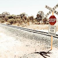 Train track in remote landscape