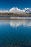 Saint Mary Lake and Divide Mountain after autumn snowstorm, Glacier National Park Montana USA