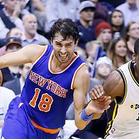 09 December 2015: New York Knicks guard Sasha Vujacic (18) drives past Utah Jazz guard Alec Burks (10) during the Utah Jazz 106-85 victory over the New York Knicks, at the Vivint Smart Home Arena, Salt Lake City, Utah, USA.