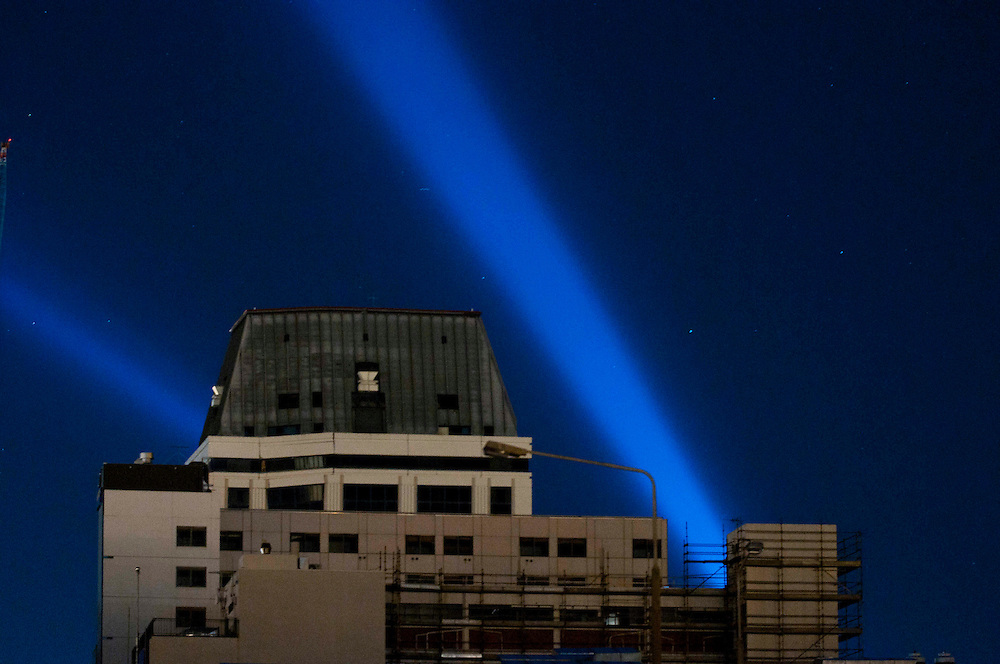 The White Lights of Hope shine out behind the Hotel Grand Chancellor from the dark CBD a year after the earthquake sequence hit Christchurch, New Zealand, Sunday,  4 September 2011. Credit:SNPA / David Alexander.
