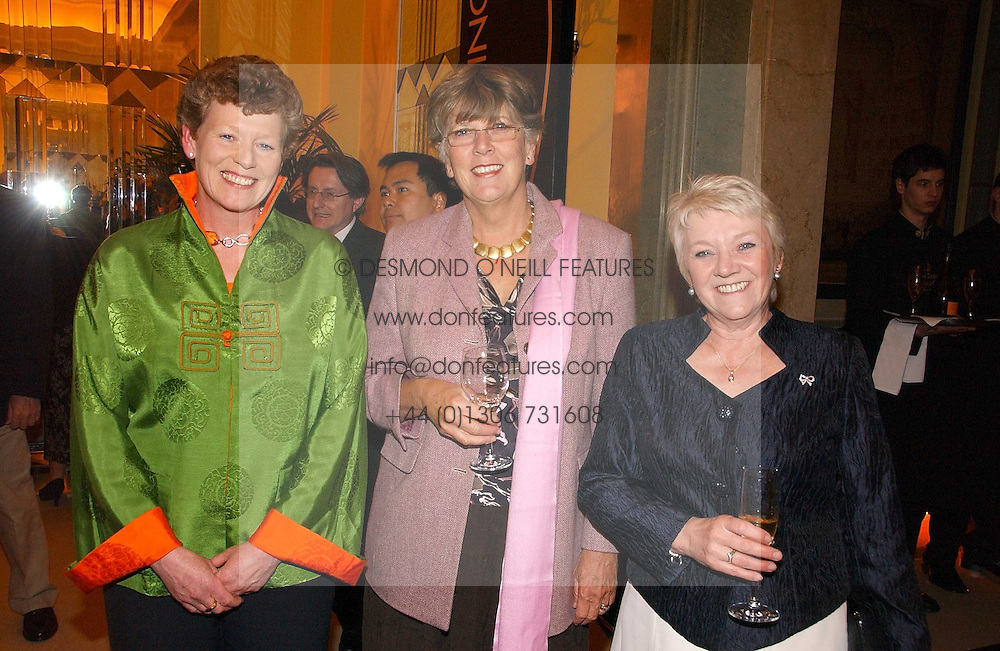 Left to right, VIVIENNE COX winner of the 2006 Veuve Clicquot Award and former winners PRU LEITH and DIANE THOMPSON at a reception for the winners of the 2006 Veuve Clicquot Award - Business Woman of the Year held at Claridge's Hotel, brook Street, London on 27th April 2006.  This years winner was Vivienne Cox, BP CEO for Gas, Power, Renewables and Integrated Supply & Trading.  The awards were presented by the Rt.Hon.Gordon Brown MP - The Chancellor of the Exchequer.<br />
