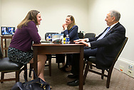Sen. Chuck Grassley (right) eats lunch with Jennifer Heins (left), Director of Scheduling for Sen. Grassley, and Beth Pellett Levine (center), Communications Director for Chairman Grassley on the Senate Committee on the Judiciary, during a break in the second day of hearings before the Senate Judiciary Committee for Neil Gorsuch to become an Associate Justice of the US Supreme Court in the Hart Senate Office Building in Washington, D.C. on Tuesday, Mar. 21, 2017.