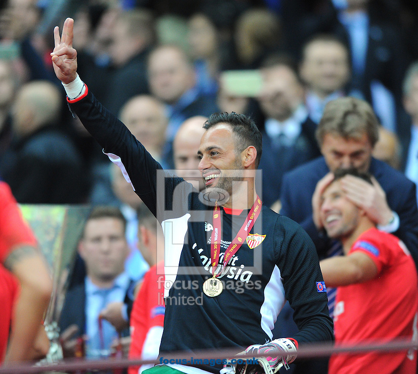 Beto, reserve goalkeeper of Sevilla during the Europa League trophy presentation after the UEFA Europa League final at the National Stadium, Warsaw<br /> Picture by Greg Kwasnik/Focus Images Ltd +44 7902 021456<br /> 27/05/2015